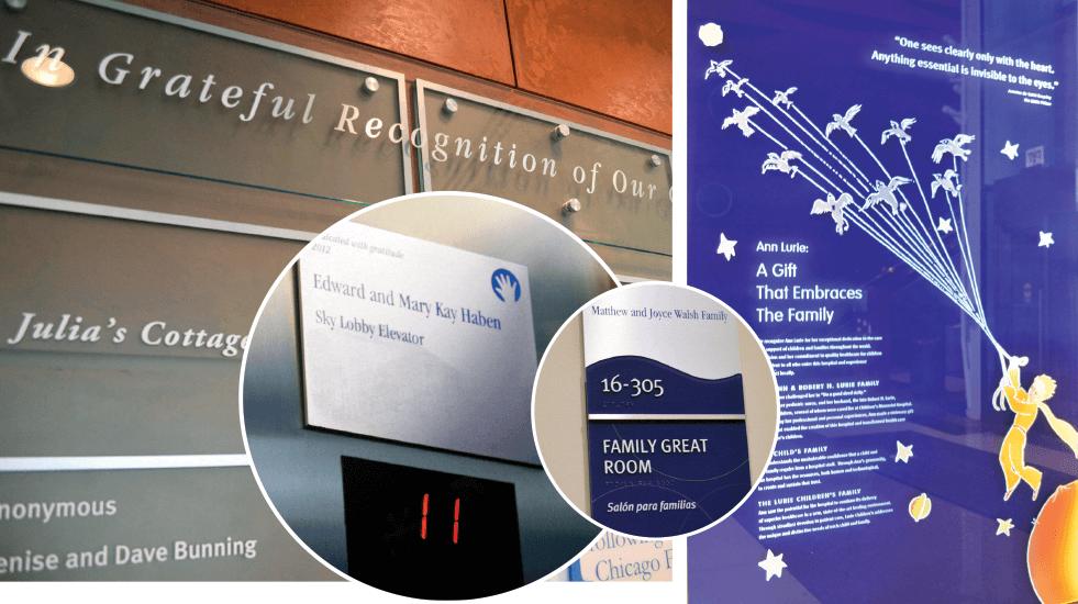 Lurie Children's Hospital recognition plaques